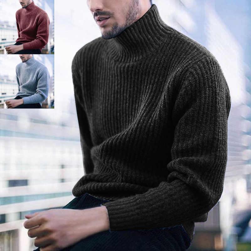 Neue Rot Grau Schwarz Einfarbig Pullover Männer Winter Hohe Hals Herren Pullover Warme Pullover Männer Rollkragen Pullover Männer Strickwaren männlichen