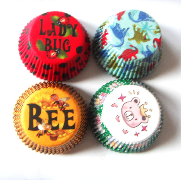 Free Drop Shipping 50X Lady Bug/Bee/bear/dinosaur/Turtle/Princess Birthday Cupcake Liner Muffin Baking Cup Cake Mold Baby Shower