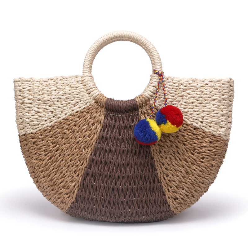 New large retro straw bag classic semi-circle transition color paper rope woven bag beach casual hand bagNew large retro straw bag classic semi-circle transition color paper rope woven bag beach casual hand bag