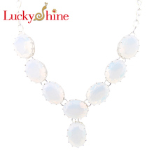 Luckyshine New Arrive Florid Oval Fire Moonstone Silver Plated Wedding Chain Necklaces Russia USA Canada Pendants Necklaces(China)