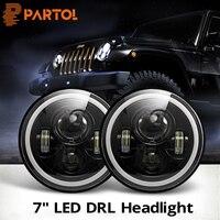 Partol 2pcs 7inch LED Headlight Bulbs Halo Angle Eyes DRL Led Headlamp 12v For Wrangler JK 2 Door 2007 2008 2009 2010 2011 2015