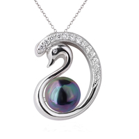 Swan Sterling Silver 925 Pendant Necklace for Women Seashell Simulated Pearl Multi Color Available Jewelry for Girlfriend P062