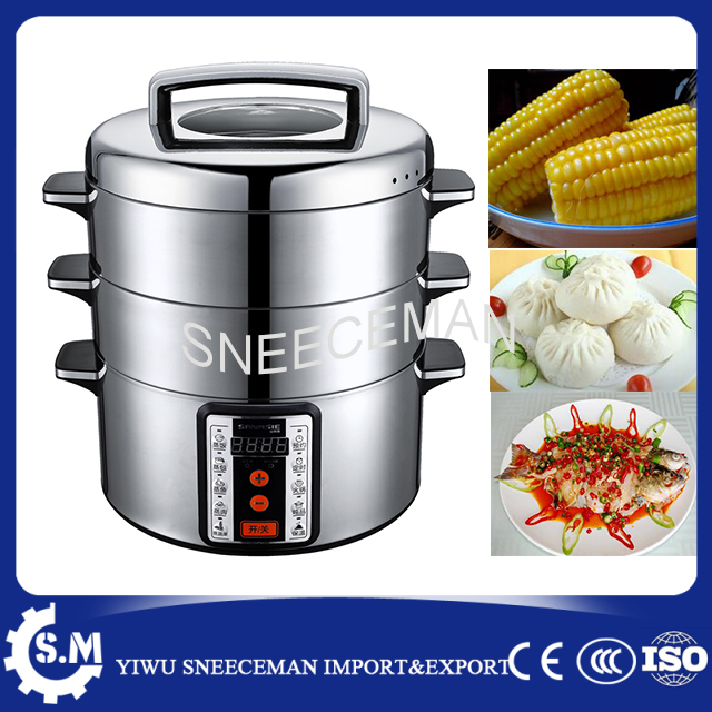SMS-32AD 29L bun cooking steamer stainless steel Computer control two layer sweet corn s ...