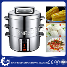 SMS-32AD 29L bun cooking steamer stainless steel Computer control two layer sweet corn steamer for sale 32cm steamer pot