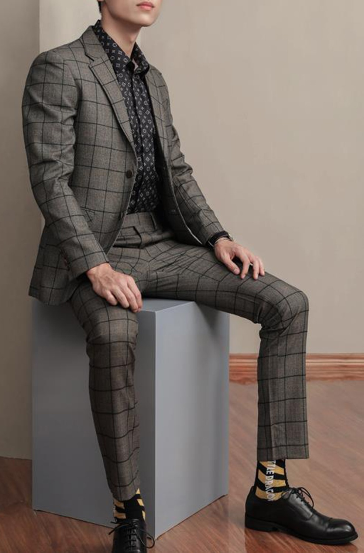Men's Suit Casual 2 Piece Tweed Wool Blazer &Pants Slim Fit Men Plaid Coat Suit Designer Jacket New 2018