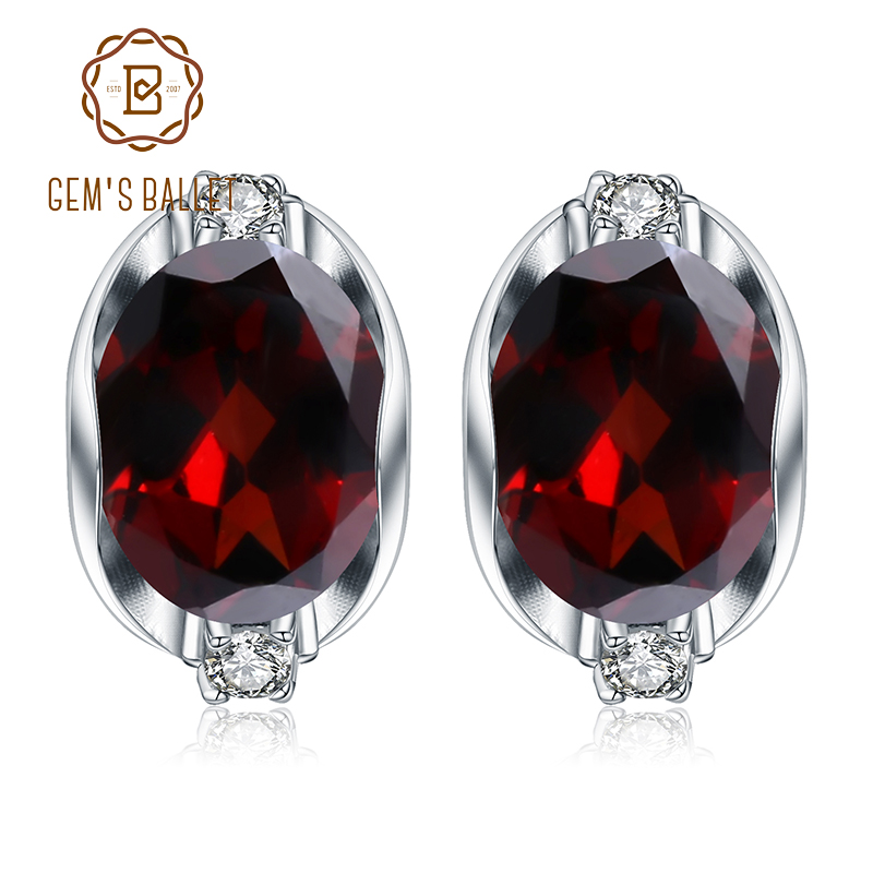 GEM S BALLET 925 Sterling Silver Gemstone Stud Earrings 6 10Ct Natural Red Garnet Earrings For