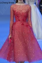 Sexy red volle hülse cocktailkleid mit tulle appliques A-linie mini kleid robe de soiree vestidos de novia 2017