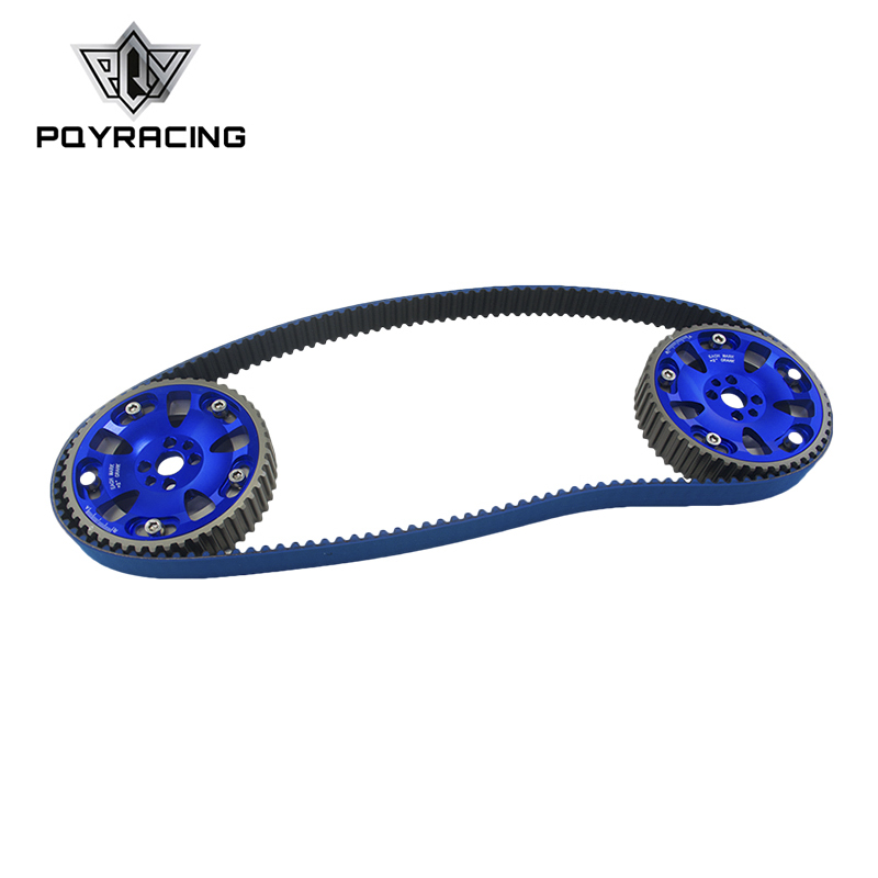 PQY - BLUE HNBR Racing Timing Belt+Aluminum Cam Gear FOR Nissan Skyline R32 R33 RB20 RB25DET RB26DETT RB25 PQY-TB1010+6536B