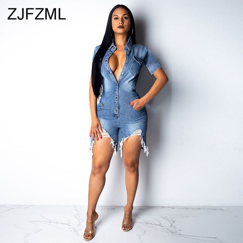 Short Sleeve Summer Denim Overalls For Women Turn Down Collar Buttons Up Short Playsuit Casual Pockets Hollow Out Party   Jumpsuit