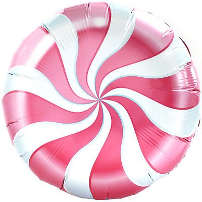 2pcs 18 inches BALLOONS swirl PINK PEPPERMINT hard CANDY land WONKA ...