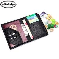Andralyn 2018 yeni hakiki deri pasaport çantası seyahat belge paketi cüzdan moda kart tutucu coin pouch ehliyet çantası