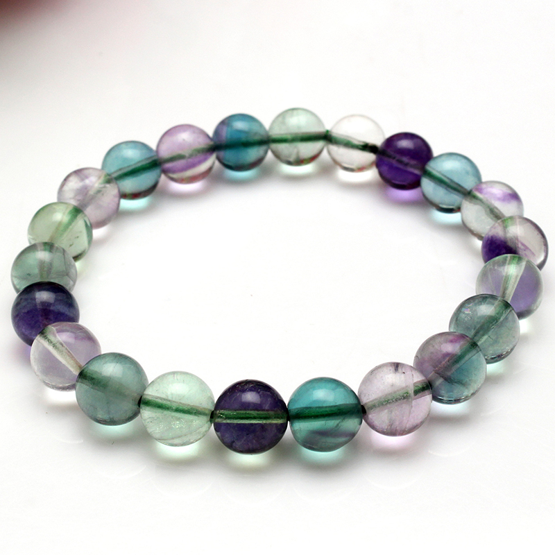 Single Line Beads: Colorful Fluorite Natural Stone Bracelets 10mm Round Beads