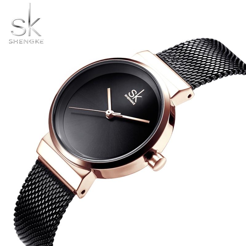 SHENGKE SK0083 femmes noir étanche dames montre femmes Quartz horloge montres mode femmes livraison directe montres sk montre