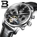 Suíça binger relógios homens marca de luxo turbilhão fulll b-8604-4 mecânico resistente à água relógios de pulso de aço inoxidável