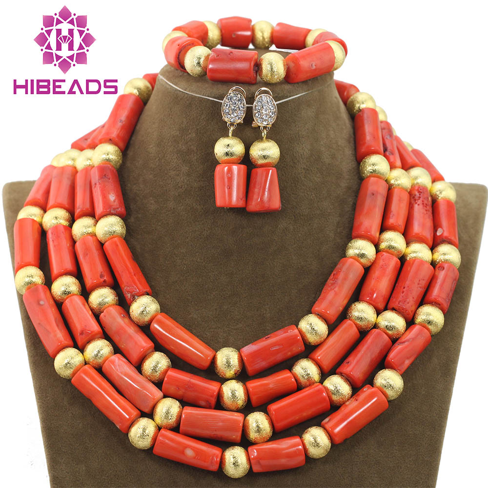 2018 Coral Bead Sets Jewelry Latest Design Nigerian Beads Necklace ...