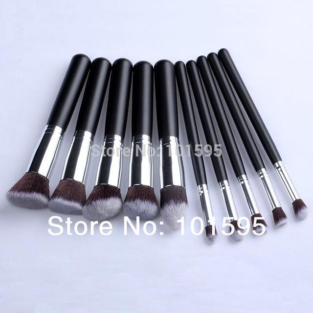 10 pcs prata Kabuki Sintético Maquiagem Jogo de Escova Cosméticos Fundação misturando ferramenta de blush maquiagem frete grátis