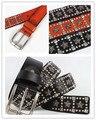 NEW Man cool Punk black ROCK geniune leather waist Belt cowboy metal star decoration rivet Metal buckle belt brand new BT049