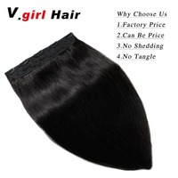 V.girl Hair Clip In Human Hair Extensions Brazilian Clip In Extensions 1 Piece 5 Sets Human Hair Extensions 100g None Remy Strai