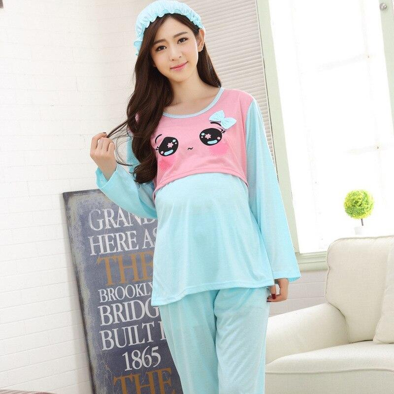 Dollplus Breast Feeding Nightwear for Maternal Breastfeeding Pajamas Nursing Cotton Character Pink Breastfeeding Pajamas