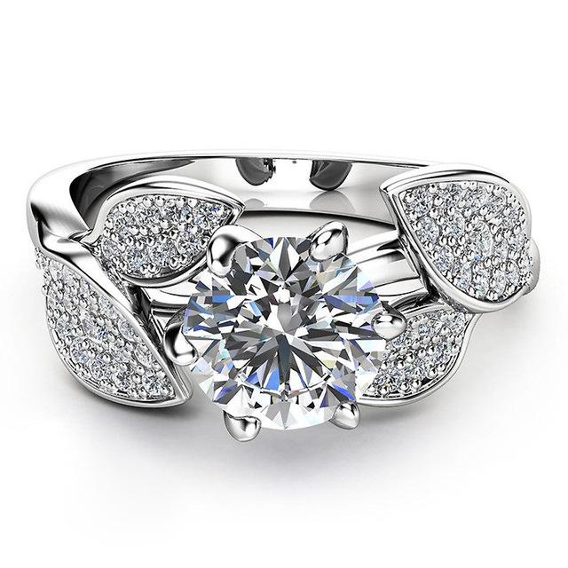 Fashion Elegant Original 925 Sterling Silver Rings for Women  Dazzling Flower Ring 1 Carat Zircon ANNIVERSARY SALE Bijoux