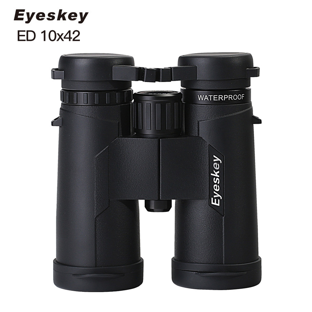 Eyeskey ED 10x42 Waterproof Binoculars Super Multi Coated Bak4 Prism Optics Golden Magnification Telescope for Camping