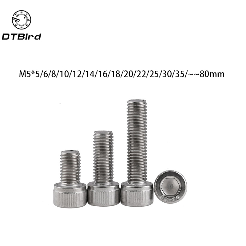DIN912 M5 304 Stainless Steel Metric Thread Hex Socket Head Cap Screw Bolts M5*(5/6/8/10/12/14/16/18/20/22/25/30/35/40/45/50) 100pcs m5 din912 304 stainless steel hexagon hex socket head cap screw metric thread m5 5 6 8 10 12 14 16 18 20 mm cylinder bolt