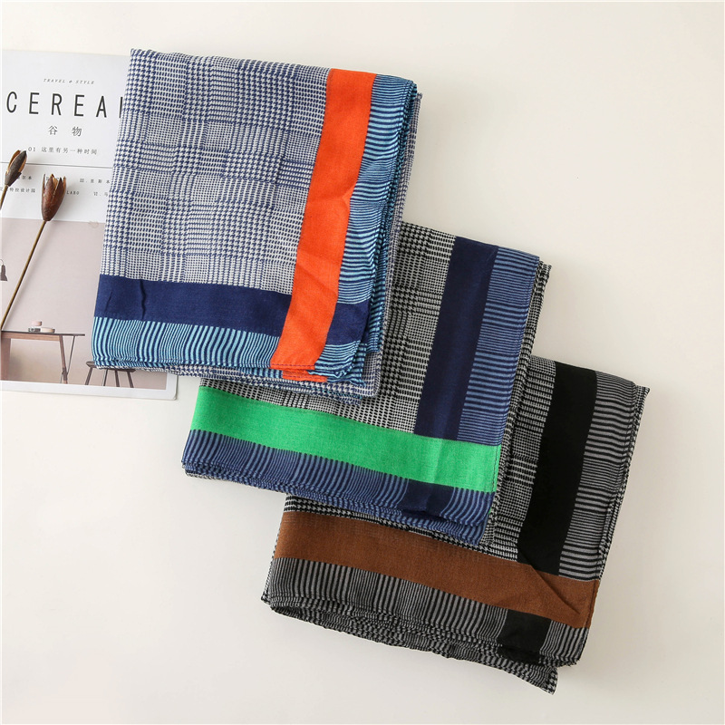 2018 Women Winter Fashion Plain Plaid Striped Chain Viscose Shawl   Scarf   Printe   Wrap   Pashmina Stole Muslim Hijab Sjaal 180*90Cm
