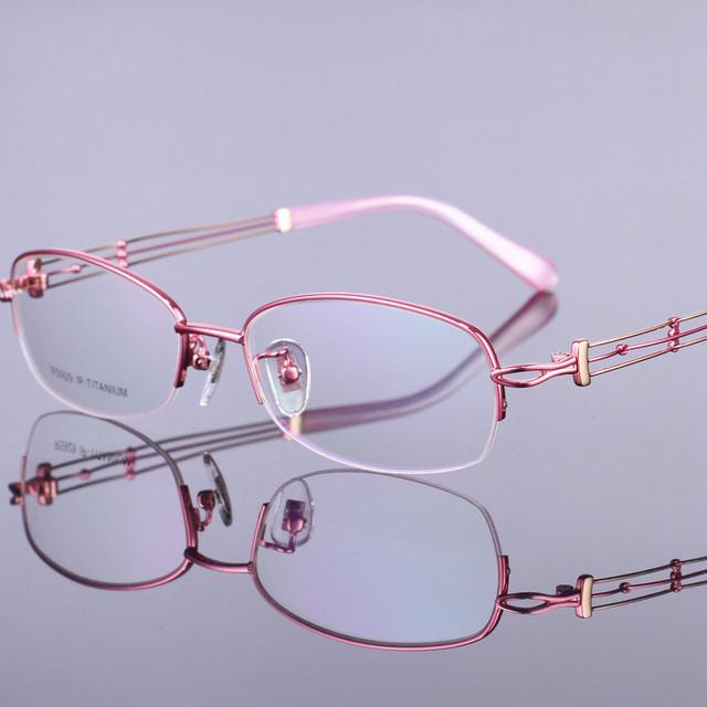 2016 novo 100% moda Esqueleto de Titânio puro óculos de armação mulheres óculos armações de óculos de prescrição oculos de grau