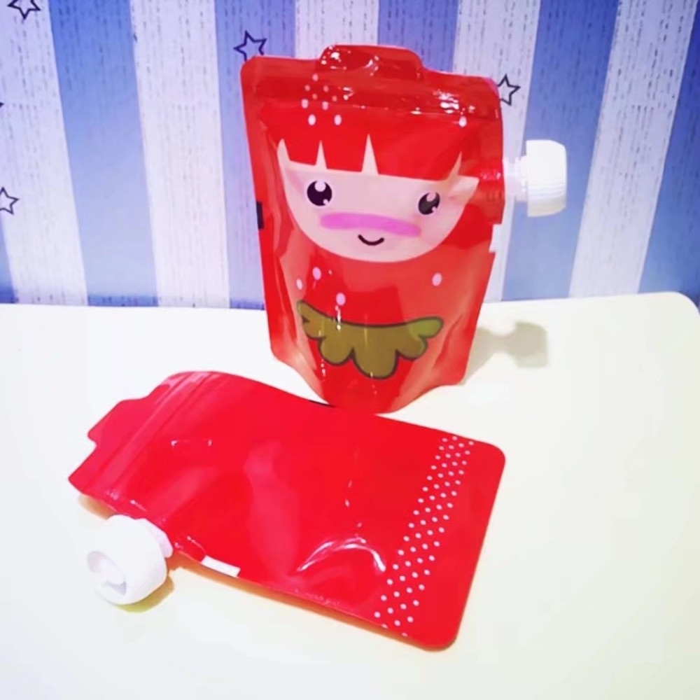 2017 Free shipping 5pc/lot Baby Beverage Cartoon Lactation Feeding Bag Plastic Reusable Food Pouch Cute Squeeze Feeding Bag