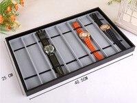 Black Or Grey Wooden Presentation Wrist Watch Display Storage Watch Tray With 8 Compartment Holders Organizer