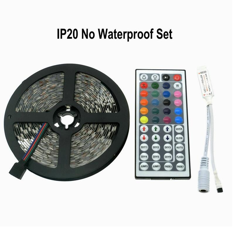 5m 5050 SMD RGB 12V flexible LED strip light RGB tape kit with 44keys Remote Controller and IR receiver non waterproof 60leds/m