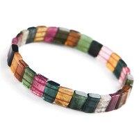 Подлинная Красочный натуральный турмалин Браслеты браслеты для Для женщин женские растягивающийся Кристальный прямоугольная бусина брас