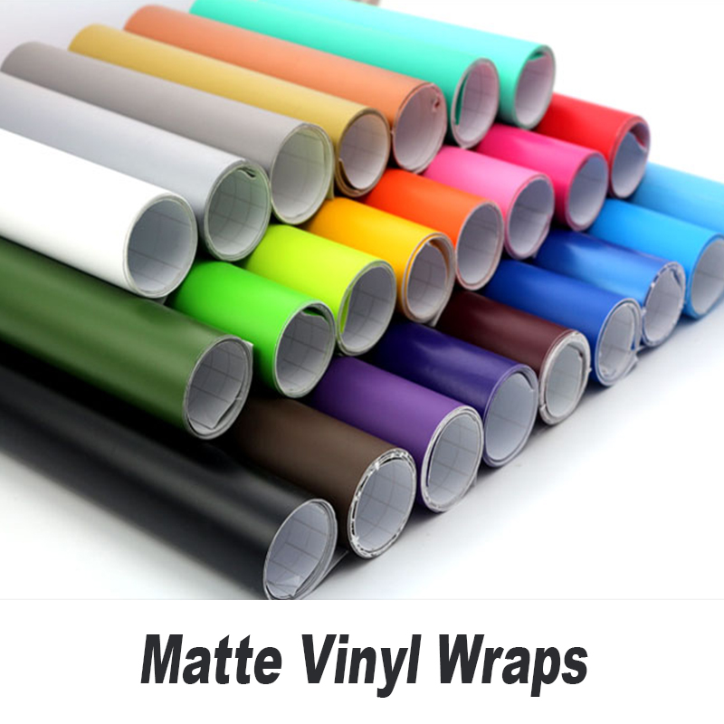 Matte film Matt Black Vinyl Wrap Self Adhesive Air Release Bubble Free Car Styling Sticker Decal Film 5ft X 65ft/Roll low price