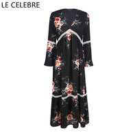LE CELEBRE Floral Women Dresses Long Sleeves Lady Dresses 2017 Autumn Maxi Dress Long Size XS