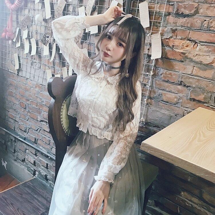 Princess sweet lolita Bobon21 girl's fashion lolita style full of lace Peter pan baby collar shirt Small sling for gift T1446
