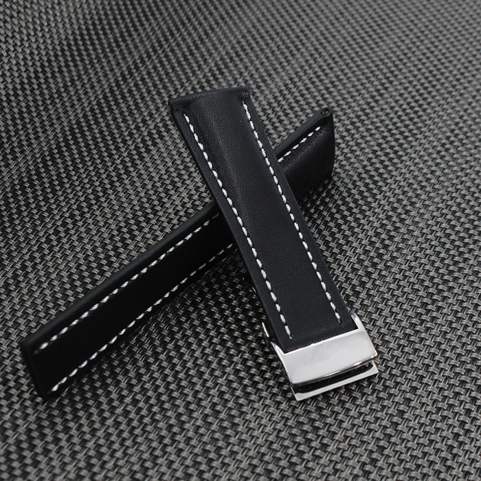 Italy Genuine Leather Watch Strap 24mm Watch Band White Stitching Black Watchband For Brand Spring Bar