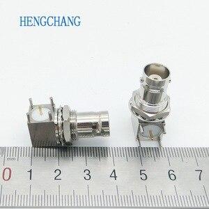 Image 5 - 10pcs/lot 5pin copper plating nickel RF Coaxial Connector BNC Female socket bulkhead Right Angle PCB Mount BNC Connector
