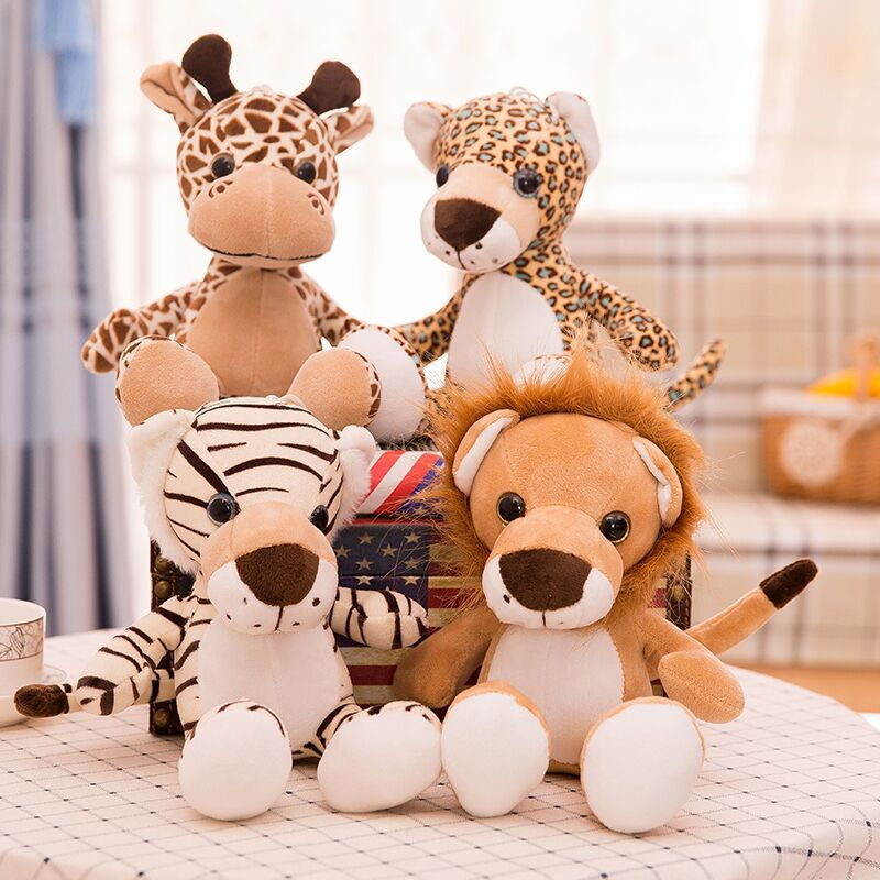 1PC 25cm Forest Animal Doll Simulation Lion Tiger Leopard Giraffe Plush Toys Soft Stuffed Animals For Children Gifts