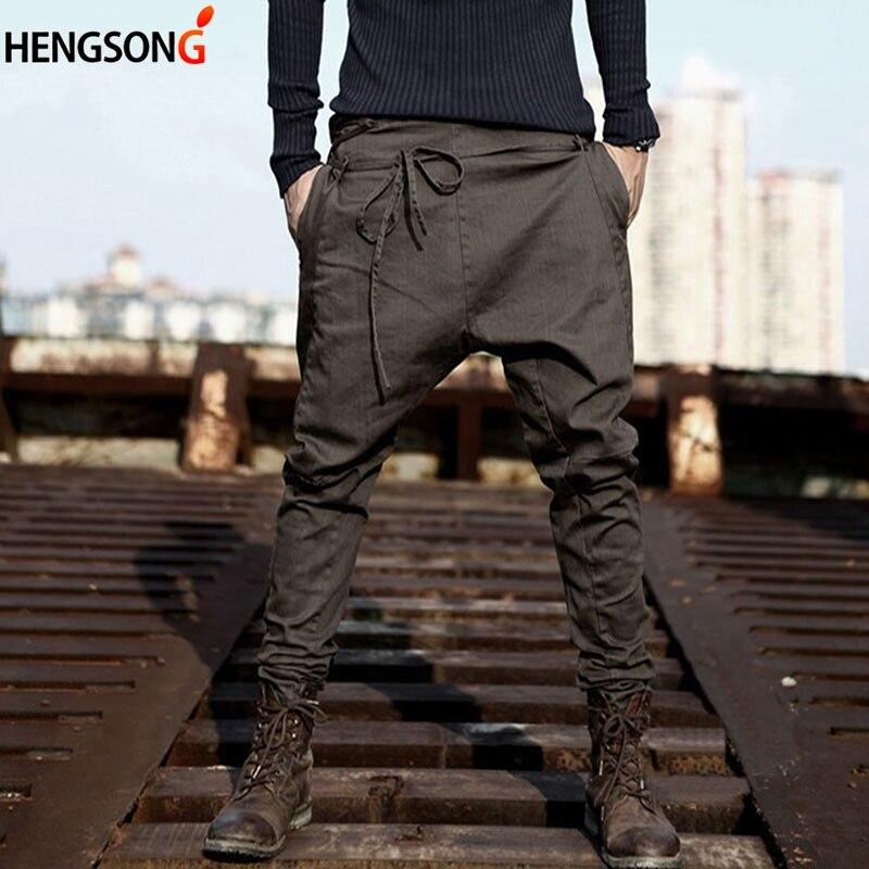HENGSONG Casual Men Harem Pants Autumn Spring Loose Pants Trousers Cotton Blend Long Pants Drawstring Sashes Male Pants 733342