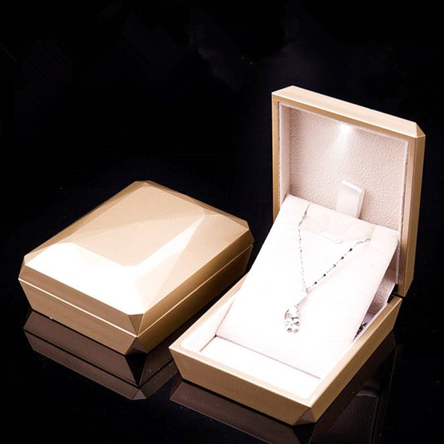 Gold White Ring Pendant Box Jewelry Display Box LED Jewelry Box