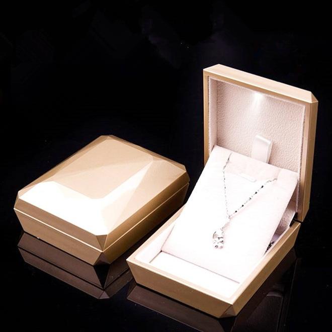 New Fashion Gold White <font><b>Ring</b></font>, Pendant <font><b>Box</b></font> Jewelry Display <font><b>Box</b></font> <font><b>LED</b></font> Jewelry <font><b>Box</b></font> Rubber Painting Jewellery <font><b>Box</b></font>