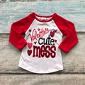 2017 new arrivals fashion kids Valentine's Day baby girls raglans shirts Valentine cute mess heart print 2-8T red sleeves