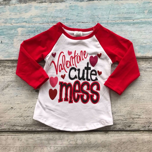2017 new arrivals fashion kids valentines day baby girls raglans shirts valentine cute mess heart print - Valentine Day Shirts
