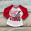 2017 new arrivals moda Dia Dos Namorados do bebê dos miúdos meninas camisas raglans bagunça Dos Namorados bonito cópia do coração 2-8 T mangas vermelhas