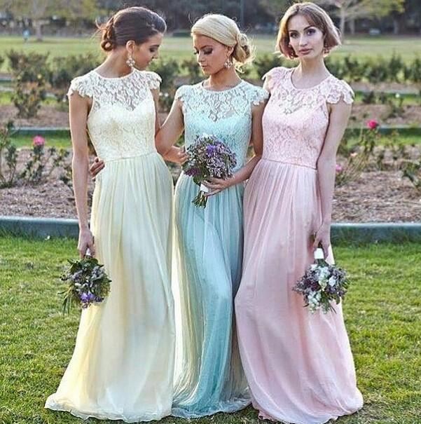62bd75ff5a Lace Chiffon Maid of Honor Dresses A line Plus Size Cap Sleeve Pink Mint  Light Yellow Bridesmaid Party Gowns 2015 Spring
