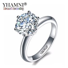 Купить с кэшбэком YHAMNI Carved 18KRGP Stamp Gold Rings 2ct CZ Diamant Engagement Ring White/Yellow Gold Color Wedding Rings For Women Gift L1699