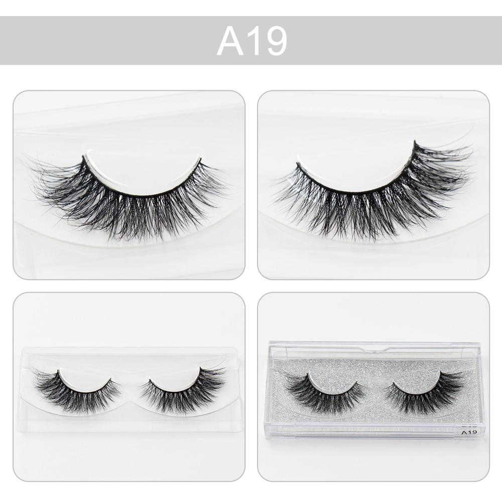 1 pair 100% handmade real mink fur long false eyelash 3D strip mink lashes thick fake faux eyelashes Makeup beauty tool A19