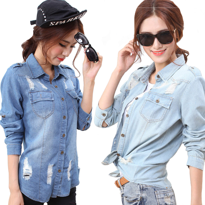 5ccf92f783 Denim Shirts Women 2015 Lady Girl Button Ripped Hole Retro Vintage Washed Long  Sleeve Casual Denim Jean Shirt Blouse Jacket Tops