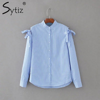 Bow Knot Light Blue Striped Blouse 2017 Women Single Breasted Causal Female Shirt Vintage Long Sleeve