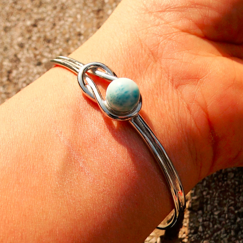 New Arrival Natural Larimar Round Ball Beads Woman Bracelet Bangles Solid 925 Sterling Silver Jewelry Bangle for Party Wear